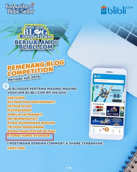 10 Blogger Pertama – Lomba Blog – BliBli.com – Periode Juli 2019