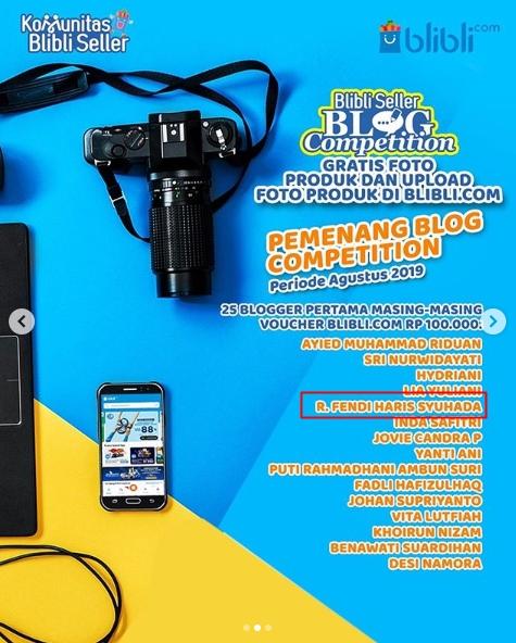 25 Blogger Pertama – Lomba Blog – BliBli.com – Periode Agustus 2019