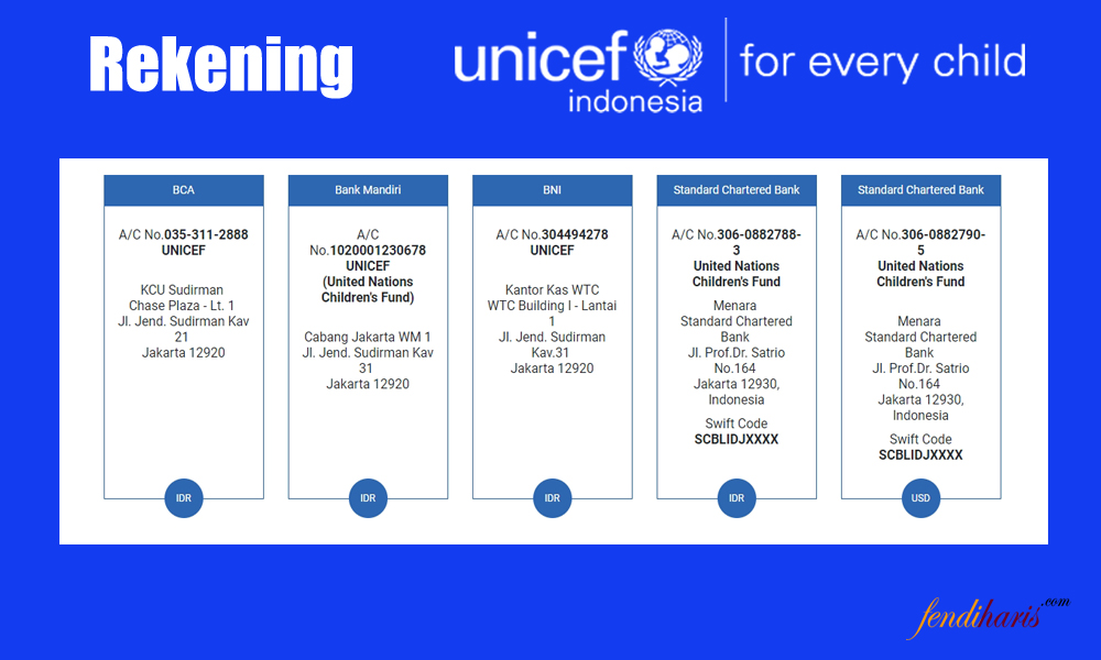 rekening unicef indonesia